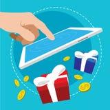 Touch application bonus reward flat design. Illustration Royalty Free Stock Images