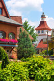 A Touch of Bavaria. FRANKENMUTH, MI, USA - JUNE 28, 2014: German-style architecture forms the backdrop of River Place, a recently established collection of shops Royalty Free Stock Image