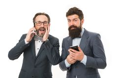 Always in touch. business communication on meeting. team success. collaboration and teamwork. mature men. Agile business. Bearded businessmen in formal suit stock photography