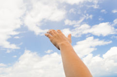 Touch the cloud Royalty Free Stock Photo