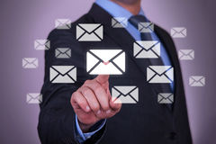 Touch Email. Working with virtual screen growth Stock Images
