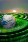 Touch of environments. Planet earth travelling through cyberspace. cg illustration Royalty Free Stock Photos