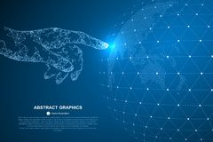 Touch the future, illustration of a sense of science and technology. vector illustration