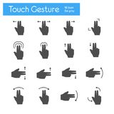 Touch Gesture flat gray icons set of 16. On white background Stock Photo