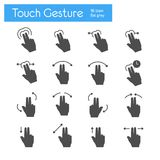 Touch Gesture flat gray icons set of 16. On white background Stock Illustration