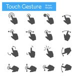 Touch Gesture flat gray icons set of 16. On white background Royalty Free Stock Image