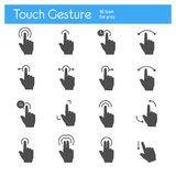 Touch gesture flat gray icons set of 16. On white background Royalty Free Stock Images
