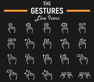 Touch gesture line icon set, touchscreen and hands. Touch gesture line icon set, touchscreen and hand , Web and mobile interface vector sketches, logo Stock Image