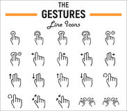 Touch gesture line icon set, touchscreen and hands Royalty Free Stock Images