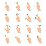 Touch Gestures Flat Icons Set vector illustration