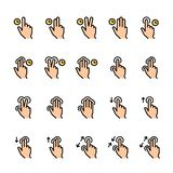 Color line icon set of Touch Gestures royalty free illustration