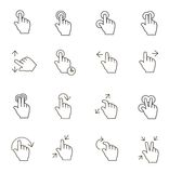 Touch Gestures Icons outline on white background Royalty Free Stock Image