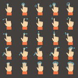 Touch gestures icons set. Flat design Stock Photography