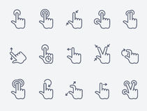 Touch gestures icons. Thin line style, flat design vector illustration