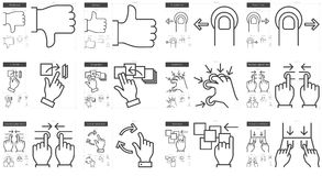 Touch gestures line icon set. Royalty Free Stock Images
