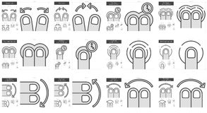 Touch gestures line icon set. Touch gestures vector line icon set isolated on white background. Touch gestures line icon set for infographic, website or app Stock Image