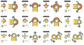 Touch gestures line icon set. Royalty Free Stock Photography