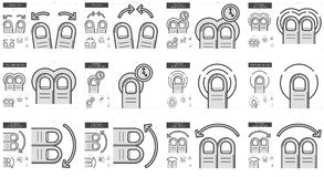 Touch gestures line icon set. Touch gestures vector line icon set isolated on white background. Touch gestures line icon set for infographic, website or app Royalty Free Stock Image