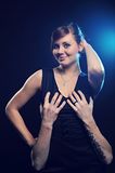 Touch girl`s breast Royalty Free Stock Photos