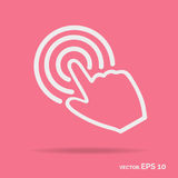 Touch hand outline icon white color. Isolated on pink background Royalty Free Stock Photography