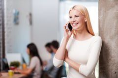 She is always in touch. stock photo