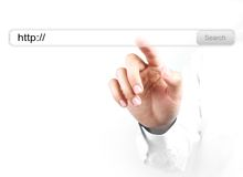 Touch http search bar. Businessman is touching the http search bar with his hand isolated on white background royalty free stock photo