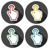 Touch icon, click, hand icons set with long shadow. Vector icon Stock Photography