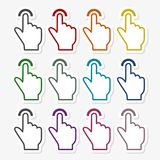 Touch icon, click, hand stickers set. Icon Royalty Free Stock Image