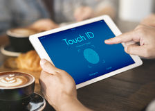 Touch ID Access Cyber Digital Security Graphic Concept. People Using Touch ID Access Cyber Digital Security Stock Images