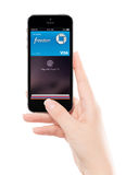 Touch id Apple Pay technology in Apple Space Gray iPhone 5S in f Royalty Free Stock Photography