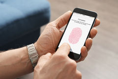 Touch ID scanner of fingerprints royalty free stock photo