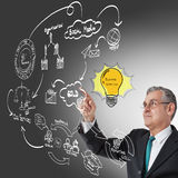 Touch idea board of business process. Businessman hand drawing idea board of business process Royalty Free Stock Photo