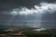 A touch of light. In dark winter day in Jordan valley Royalty Free Stock Photo