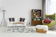 Touch of modernism in a contemporary interior. Bright modern living room with modernist furniture Stock Photo