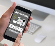 touch Online holiday reservation booking interface to go trip ad Stock Images