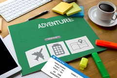 touch Online holiday reservation booking interface to go trip ad Stock Photos