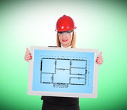 Touch pad with blueprint Stock Photography