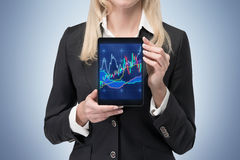 Touch pad with candle chart Stock Photography