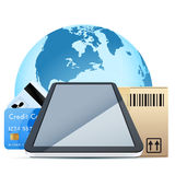 Touch Pad with Cardboard Box and Card. Clear Touch Pad Personal Computer with Cardboard Box and Bank Cards over Earth Globe isolater on white background Stock Photography