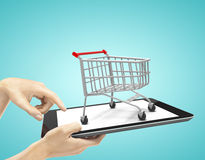 Touch pad with cart Stock Photography