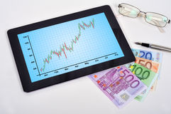 Touch pad with chart Royalty Free Stock Photo