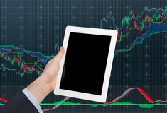 Touch pad with chart Royalty Free Stock Image