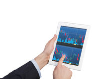 Touch pad with chart stock photo