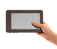 Touch pad computer with hand. It's a touch pad computer with hand stock photography
