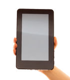 Touch pad computer with hand. It's a touch pad computer with hand royalty free stock photography