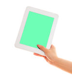 Touch pad computer with hand Stock Photo