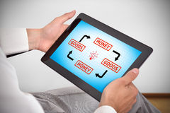 Touch pad with goods and money scheme Stock Photo