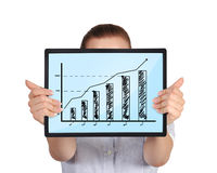 Touch pad with graph Royalty Free Stock Images