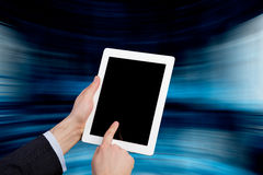 Touch pad in hand Stock Images