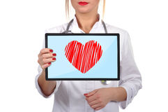 Touch pad with heart Royalty Free Stock Photos